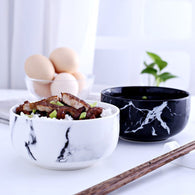 Ceramic Marble Grain Rice Bowls In 2 Colours