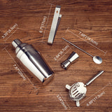 Cocktail Shaker Kit 5 Piece Set in Stainless Steel - Axel & Jones