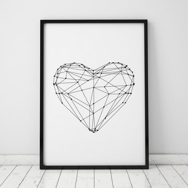 Geometric Print Canvas Wall Art - Heart - Axel & Jones