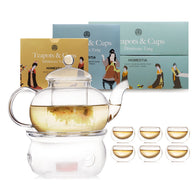 Glass Teapot Set Including Teapot, Tea Warmer And 6 Double Layer Cups
