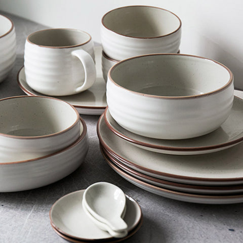Modern Brown Edge Beige Ceramic 12 Piece Set - Axel & Jones
