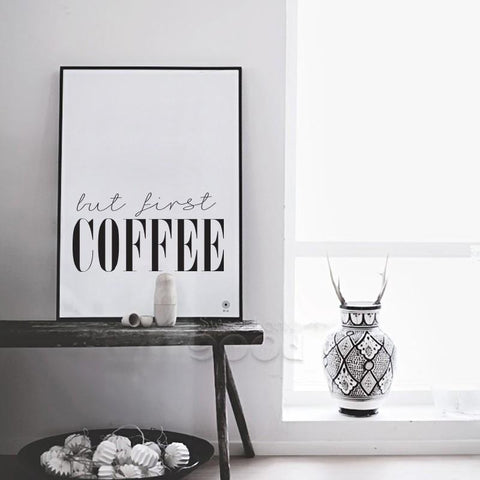 Gastronomy Themed Canvas Art - But First Coffee
