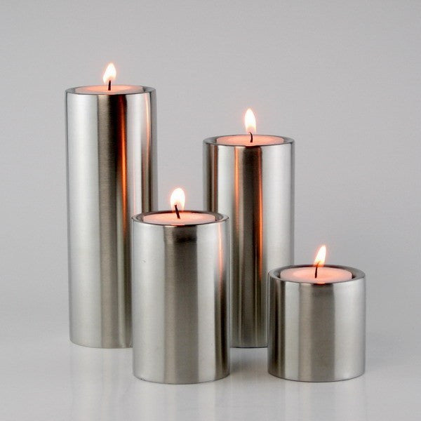 Stainless Steel Cylindrical Candle Holders - 4 piece set - Axel & Jones