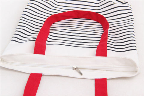 Striped Canvas Cotton Handbag - Multiple Colours - Axel & Jones