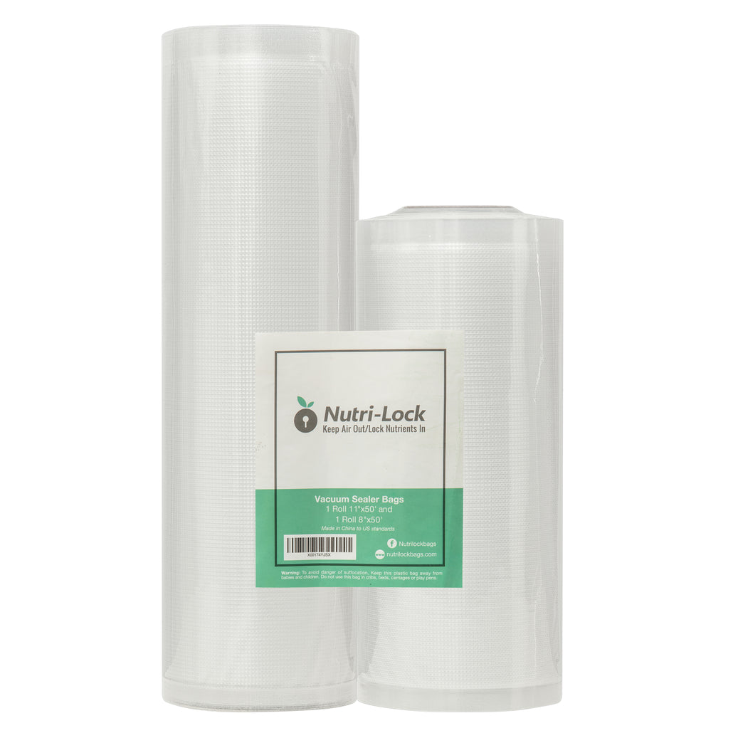 "Vacuum Sealer Bags Roll 2-Pack 11""x50' and 8""x50'. For FoodSaver, Sous Vide."