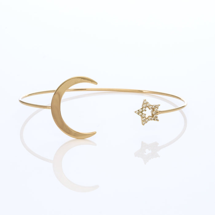 Moon & Star Gold Cuff
