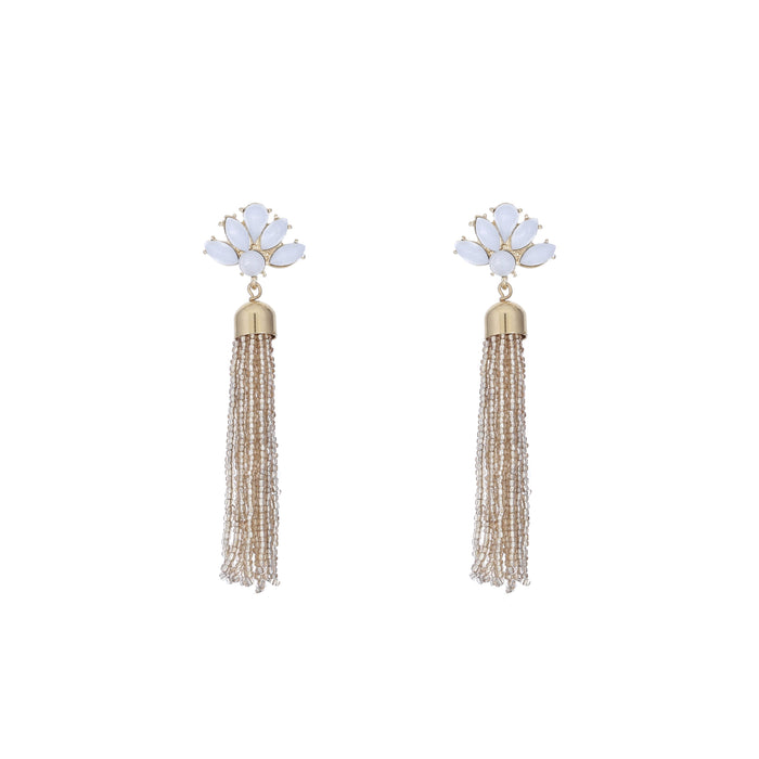 Cream Crystal Tassel Earring