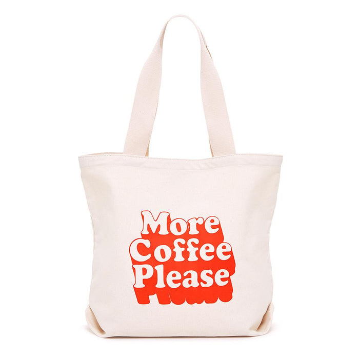 More Coffee Please Big Canvas Tote