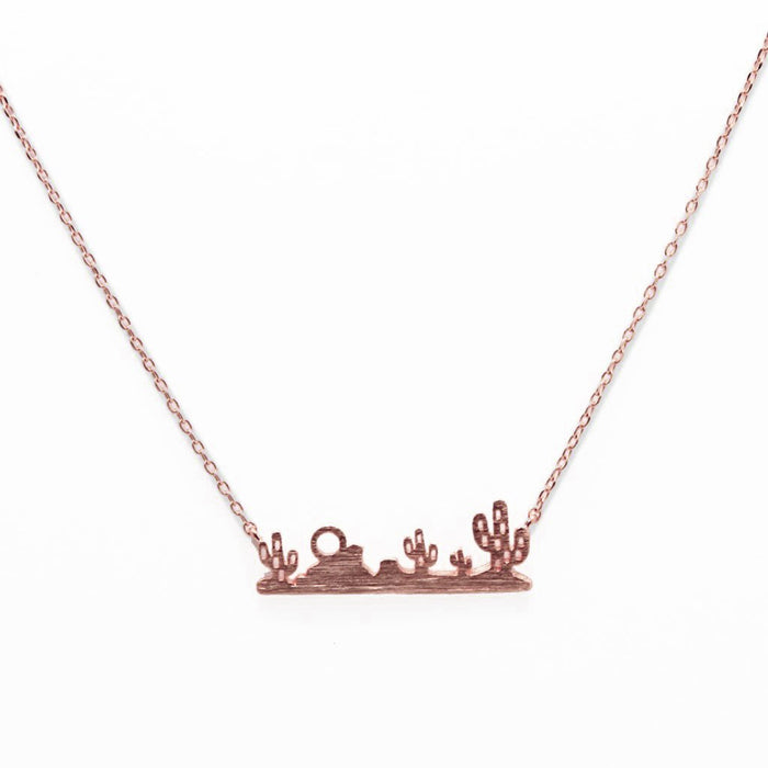 Desert Landscape Necklace-Rose Gold