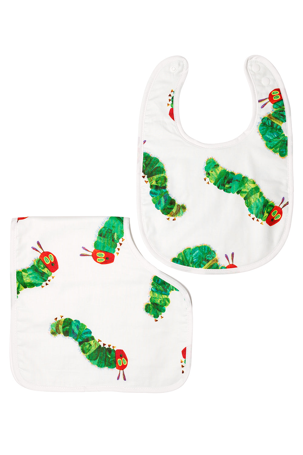 Baby Bib and Burp Cloth Set In Hungry Caterpillar Pattern