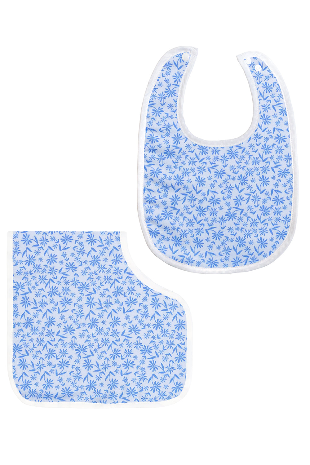 Baby Bib and Burp Cloth Set In Blue Floral Pattern