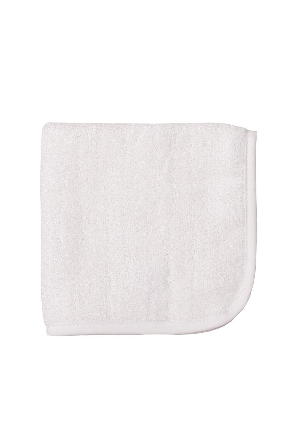 Plain white bamboo baby washcloths with trimmed edges