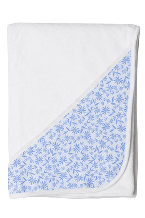 Hooded Toddler-Kids Bath Towel In Blue Floral Pattern