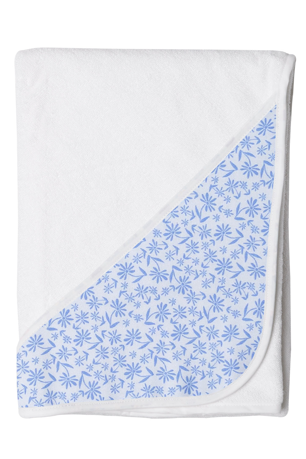 Hands-free Baby Bath Towels with Blue Floral Pattern Hood