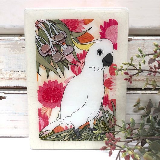 Medi Woodblock - Sulphur Crested Cockatoo
