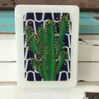 Mini Woodblock - Leafy Cactus