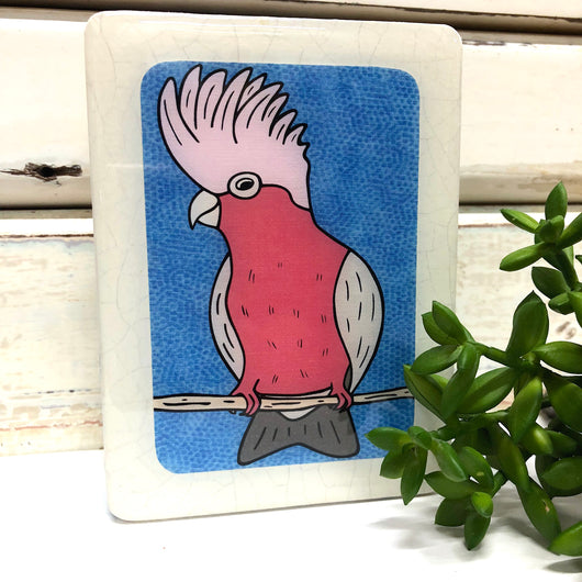 Mini Woodblock - Galah