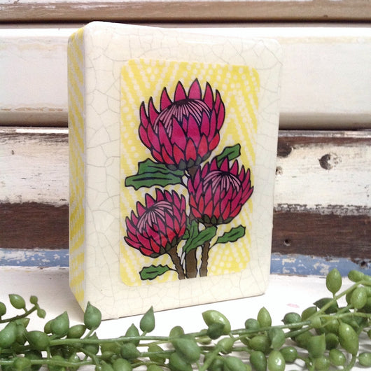 Mini Woodblock - Protea Bloom