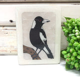 Mini Woodblock - Magpie