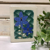 Mini Woodblock - Blue Orchid