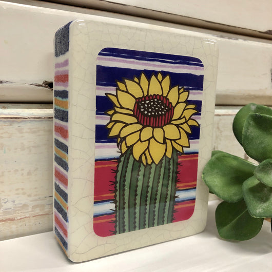 Mini Woodblock - Sunshine Cactus