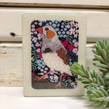Mini Woodblock - Zebra Finch