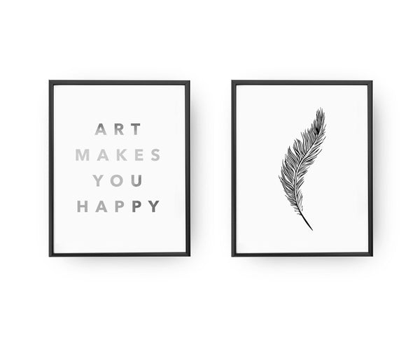 Art makes you happy, Feather, Gold Poster Set