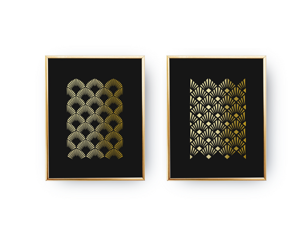 Art Deco, Gold Poster Set