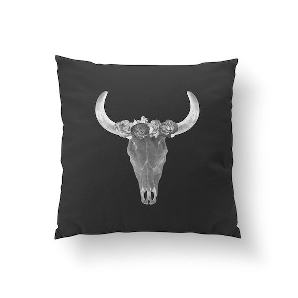 Bull Skull Black, Pillow