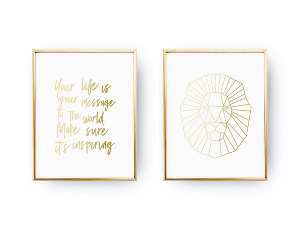 Your life is your message, Geometric lion, Gold Poster Set