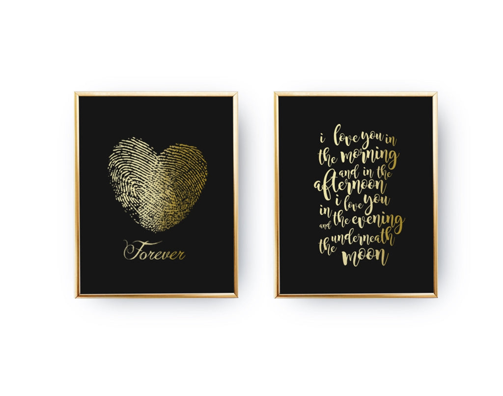 I love you in the morning, Heart Forever, Gold Poster Set
