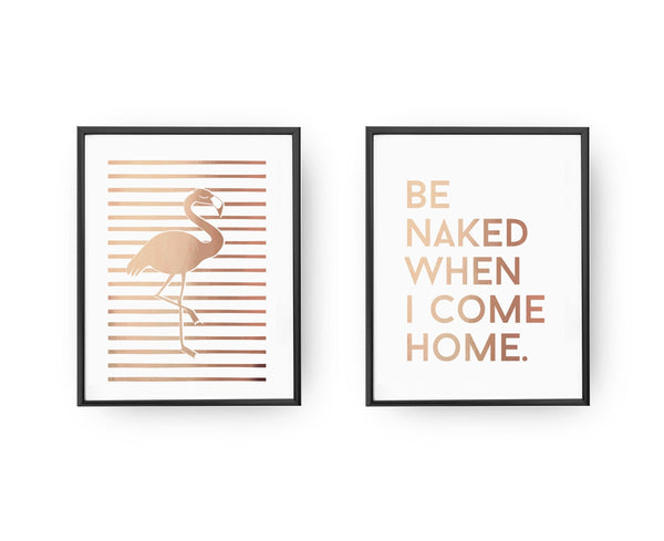Be naked, Flamingo, Gold Poster Set