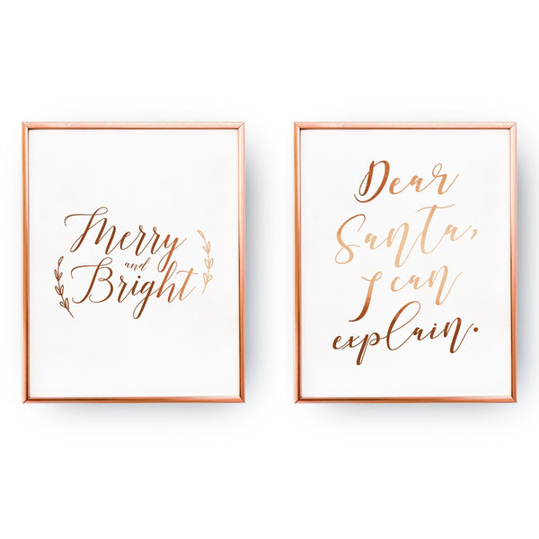 Dear Santa, Merry And Bright, Gold Poster Set