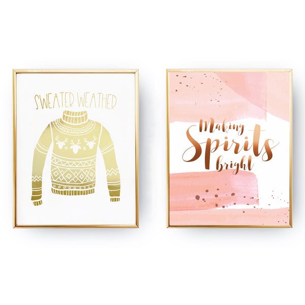 Making Spirits Bright, Sweater Weather, Gold Poster Set