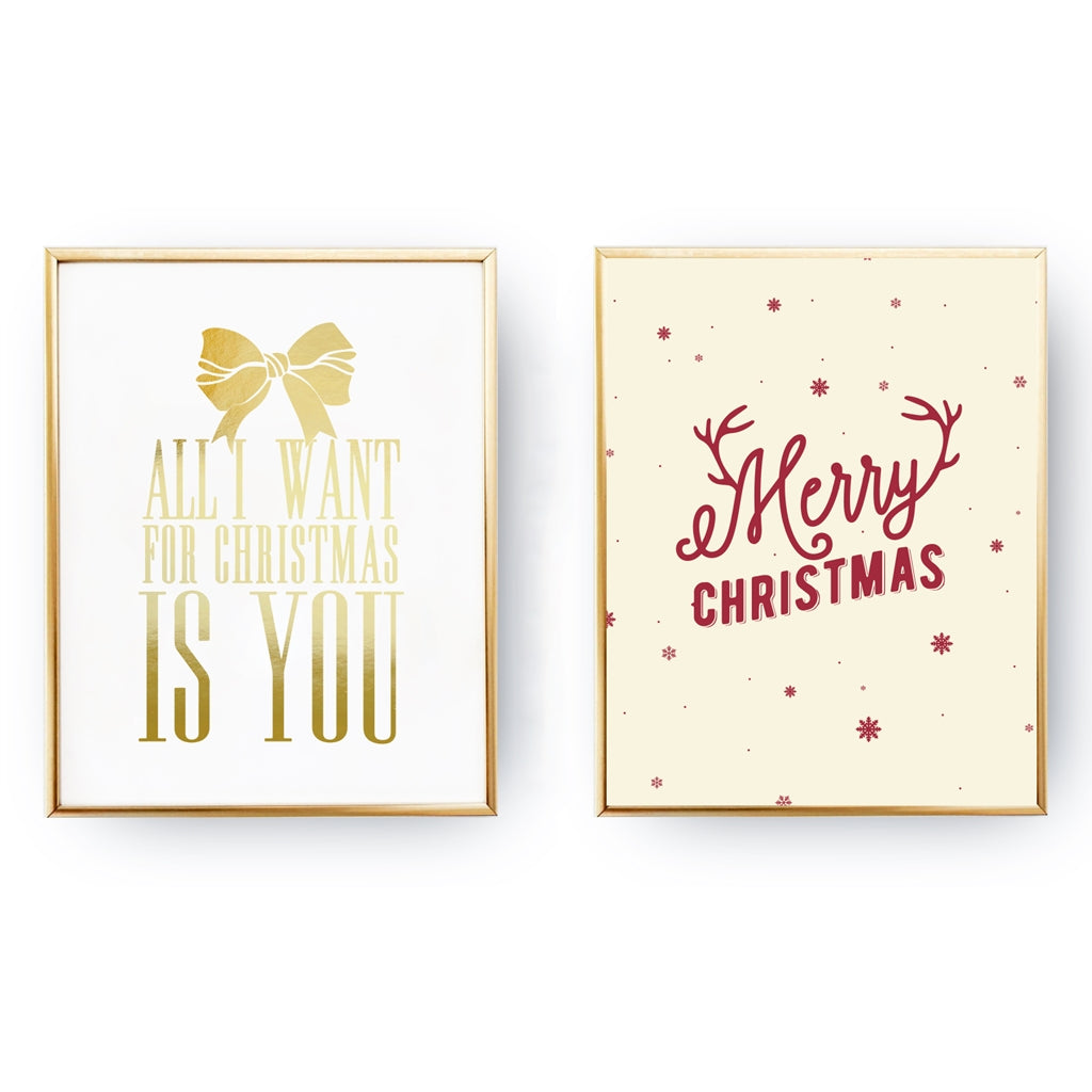 All I Want For Christmas, Merry Christmas, Gold Poster Set – Homelov