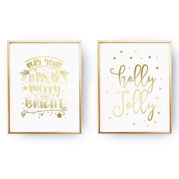 May Your Days Be Merry, Holly Jolly, Gold Poster Set