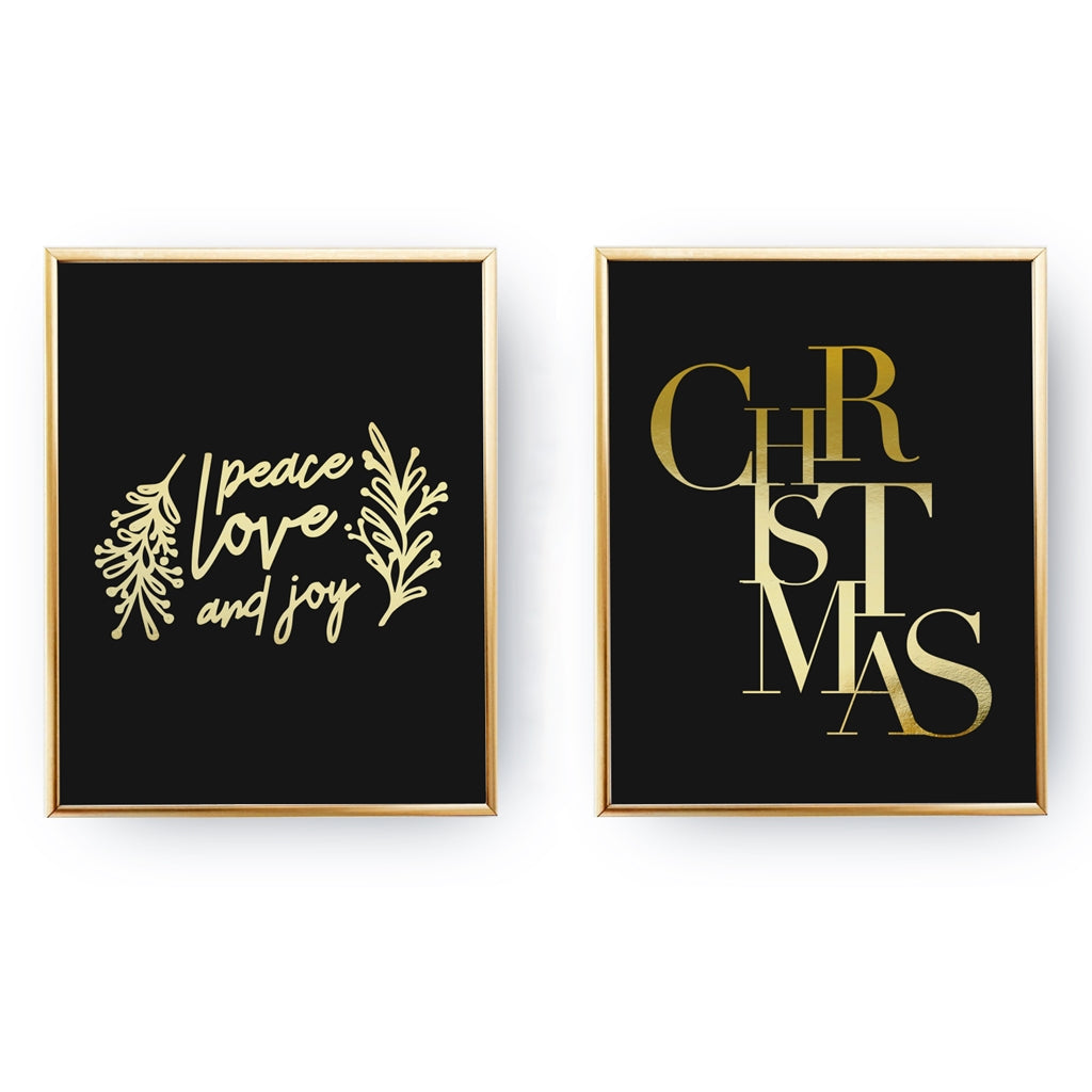 Christmas, Peace Love And Joy, Gold Poster Set