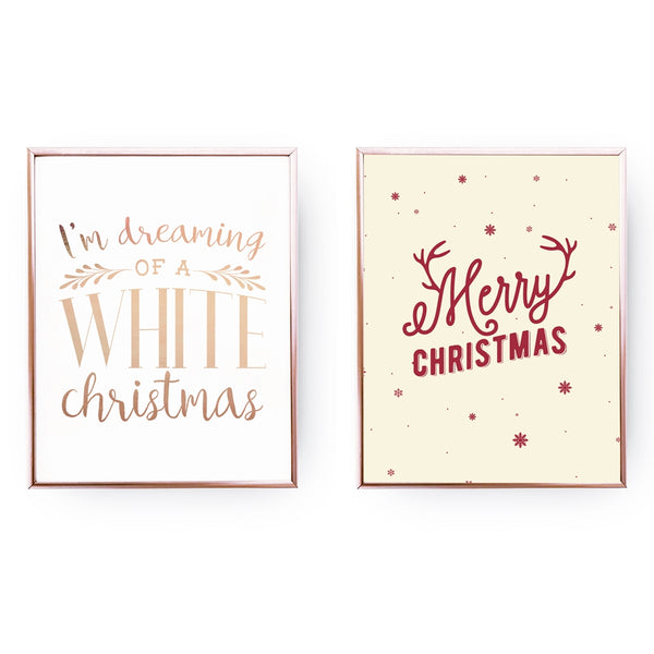 Dreaming Of A White Christmas, Merry Christmas, Gold Poster Set
