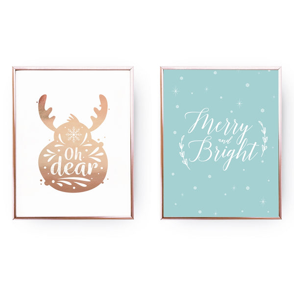Oh Dear, Merry And Bright, Gold Poster Set