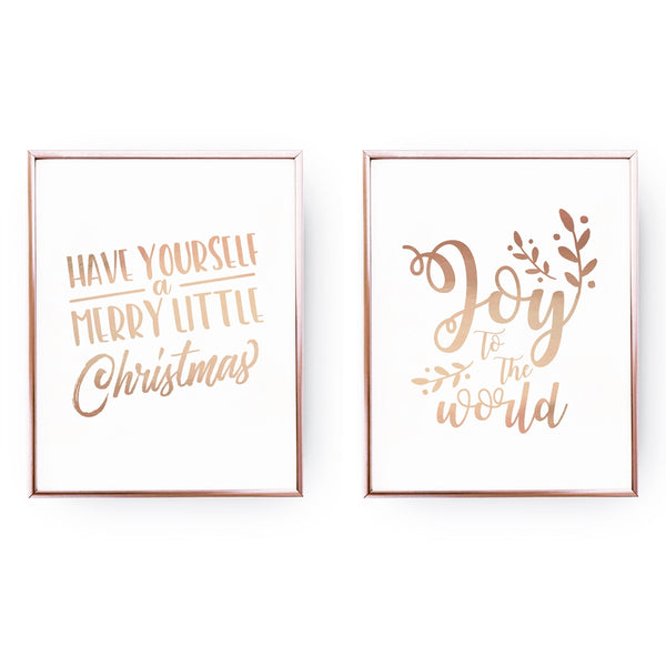 A Merry Little Christmas, Joy, Gold Poster Set