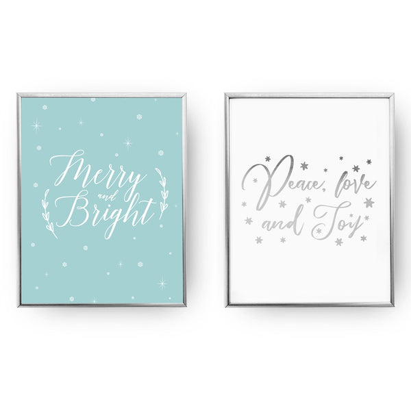 Merry And Bright, Peace Love And Joy, Gold Poster Set