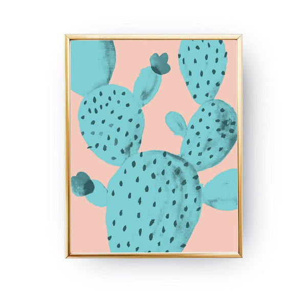 Cactus Mint Watercolor, Poster
