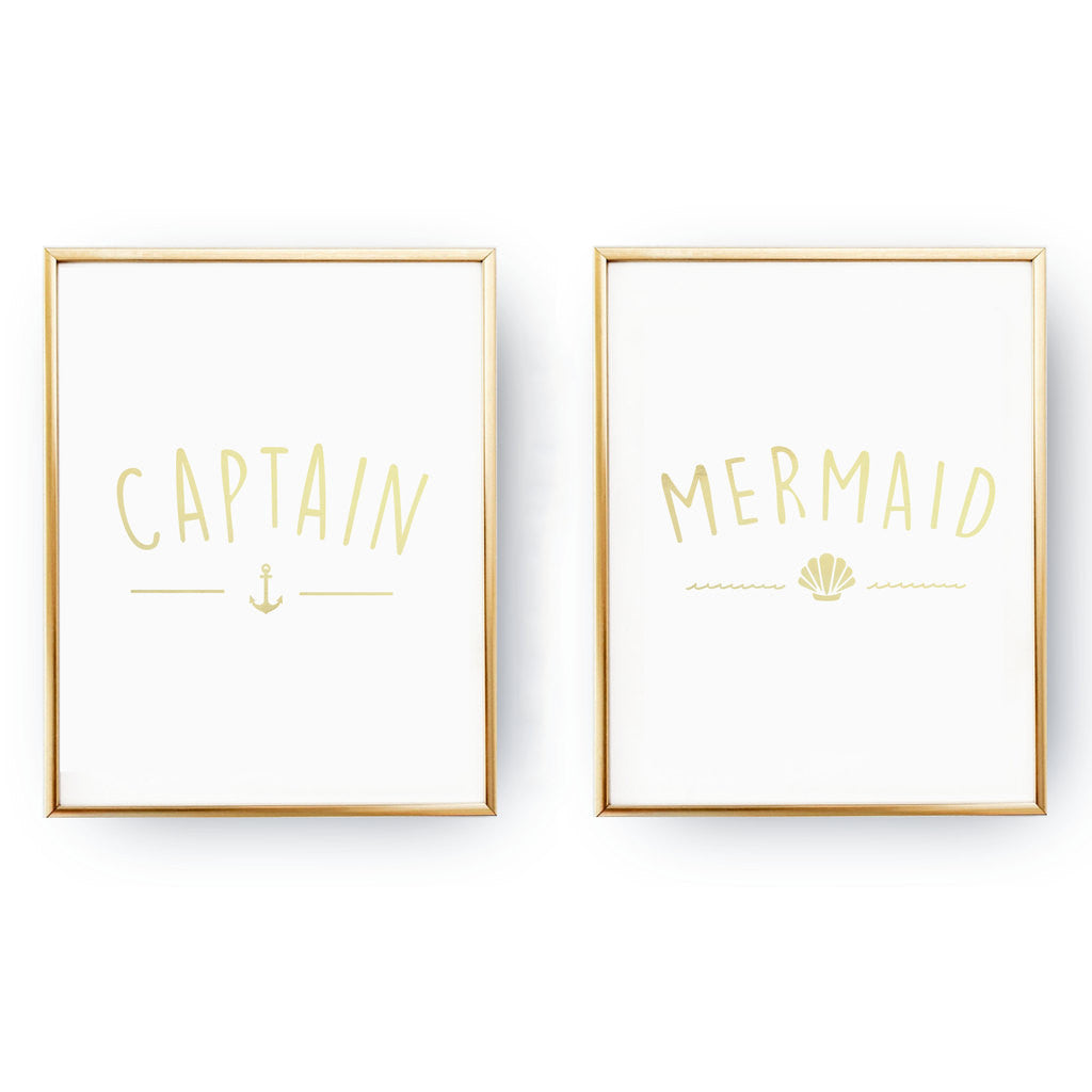 Captain Mermaid, Gold Poster Set