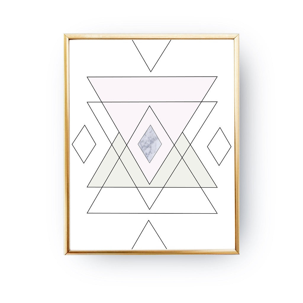 Geometric shapes Marble, Poster