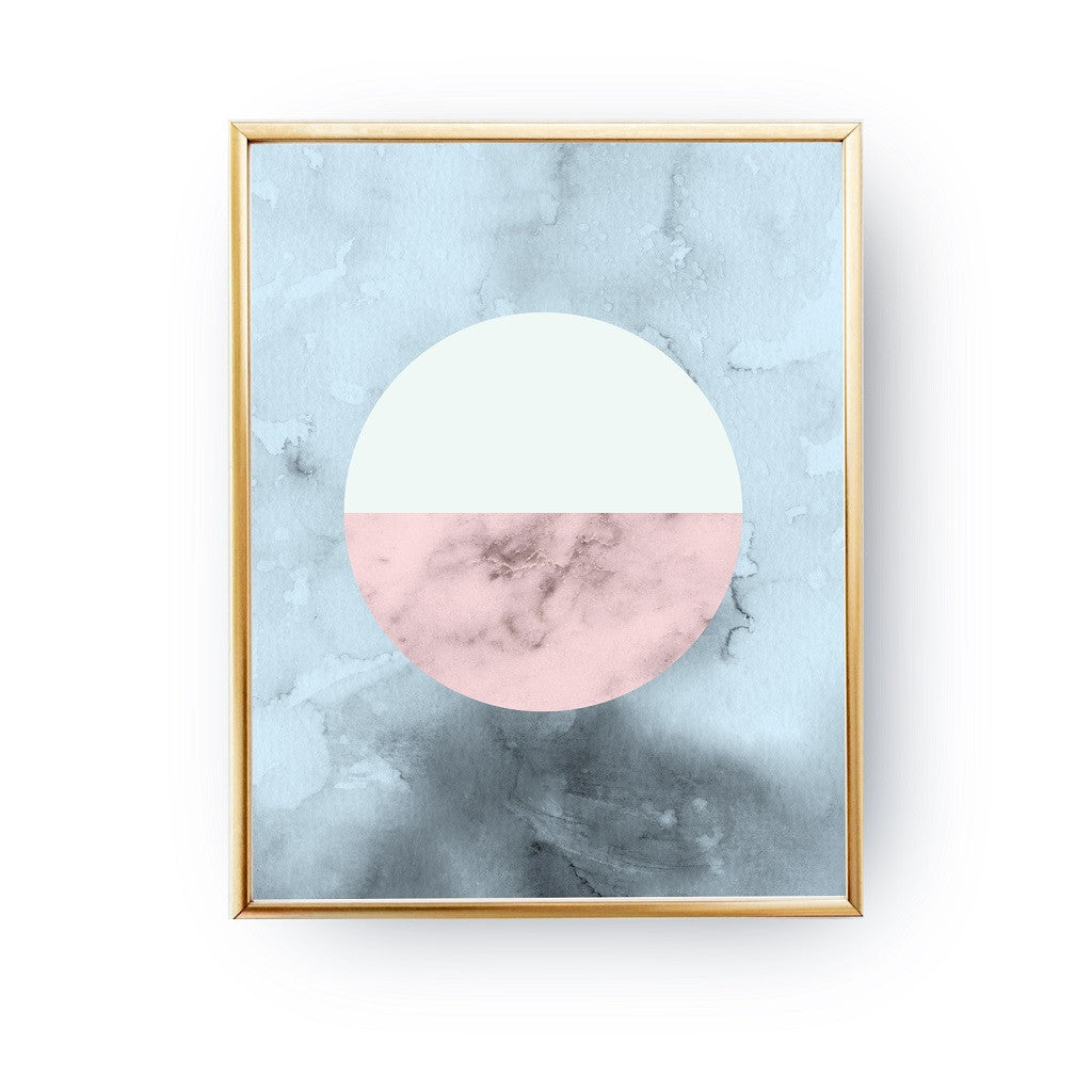 Marble circle Blue, Poster