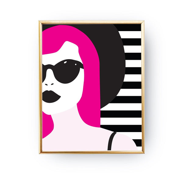 Woman popart glasses, Poster