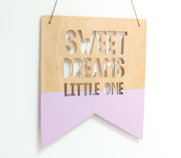 Sweet Dreams Little One Guidon Flag, Wooden Decoration