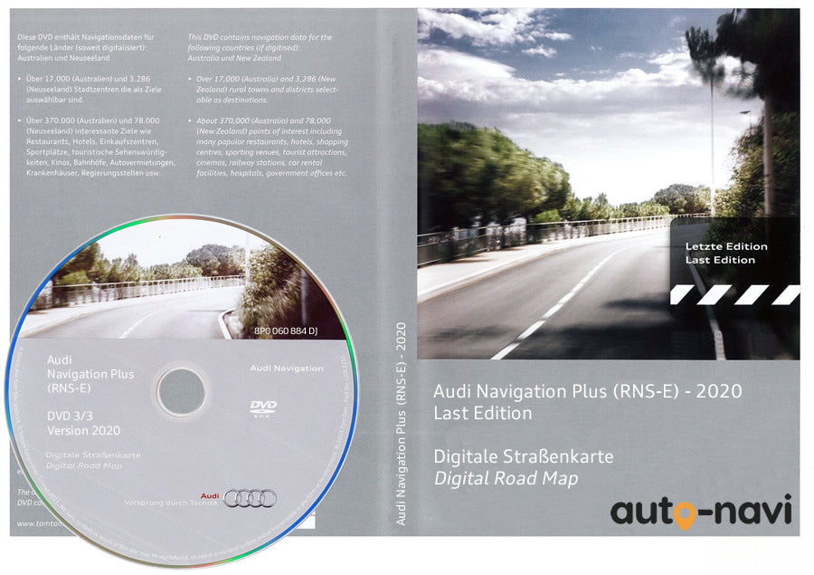 DVD MAP AUDI NAVIGATION RNS-E 8P0060884DJ PLUS EUROPE 2020
