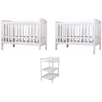 BeBeCare Oxford Cot & Change Table Package - White - $47.35 pw 26 weeks