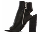 Leka Black Leather Heel